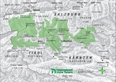 Map Hohe Tauern National Park  c NPHT Grafik Gruber